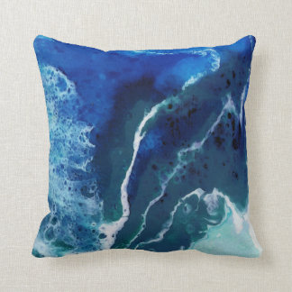 Ocean Inspired Abstract Painted Design Throw Pillow