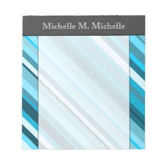 Ocean-Inspired Blue/Teal/Aqua Stripes; Custom Name Notepad