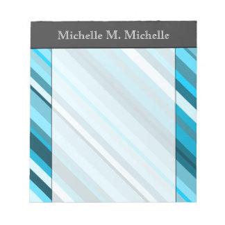 Ocean-Inspired Blue/Teal/Aqua Stripes; Custom Name Notepads