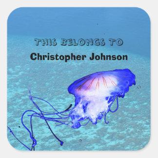 Ocean Jellyfish Children School Book Label Custom Square Sticker