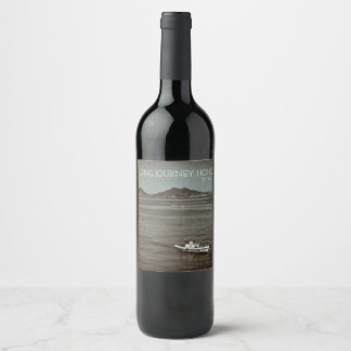 Ocean Journey Boat On Ocean Fishermen Retro Wine Label