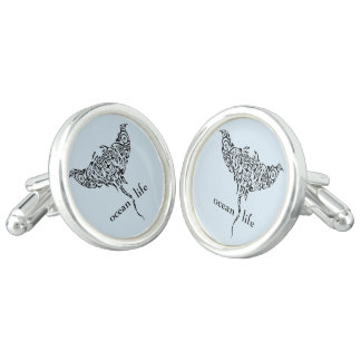 ocean life stingray cuff links