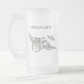 OCEAN LIFE twin rays Frosted Glass Beer Mug