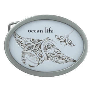 ocean life twin rays manta-rays oval belt buckle