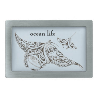 ocean life twin rays manta-rays rectangular belt buckle