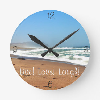 ocean live love laugh round clock