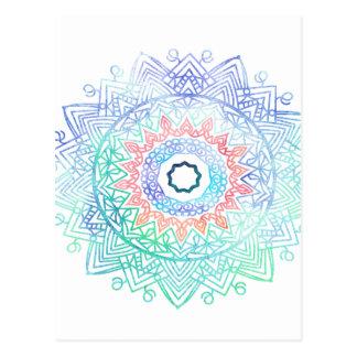 Ocean-madala. aqua blue pink postcard