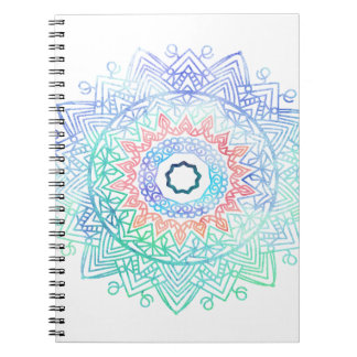 Ocean-madala. aqua blue pink spiral notebook