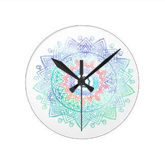 Ocean-madala. aqua blue pink wall clocks