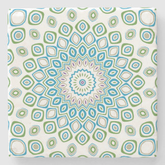 Ocean Mandala in Blue and Gray and White Stone Beverage Coaster