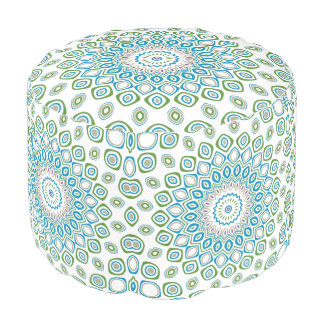 Ocean Mandala in Blue and Grey and White Pouf