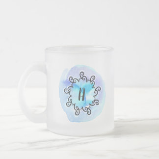 Ocean Medallion Frosted Glass Coffee Mug