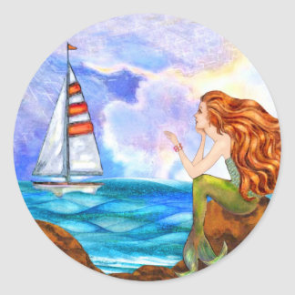 Ocean Mermaid Waving at an Incoming Sailboat Classic Round Sticker