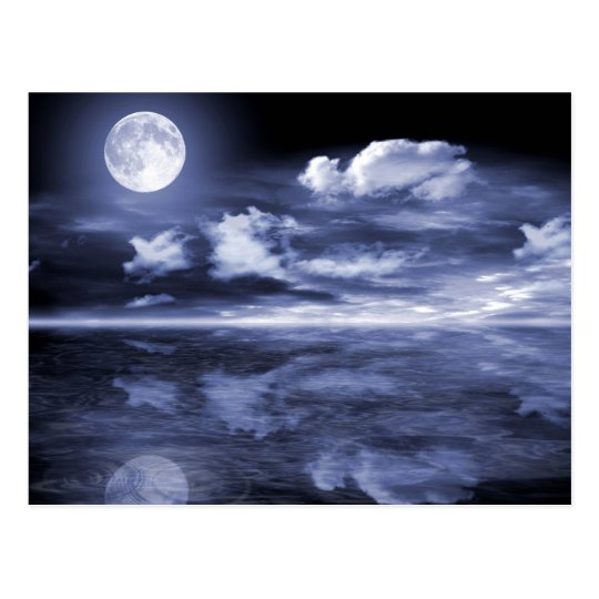 Ocean Moon Reflection Postcard