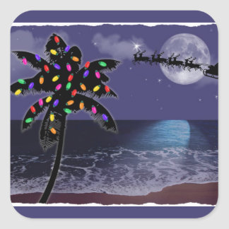 Ocean Moonlight Christmas Holiday Square Sticker