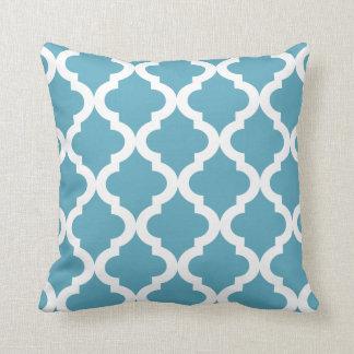 Ocean Moroccan Quatrefoil Print Throw Pillow
