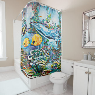 Ocean Mural Sea Creatures Shower Curtain