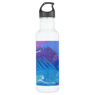 Ocean Nomads, Nautical Fantasy Art Mermaids & Fish 710 Ml Water Bottle