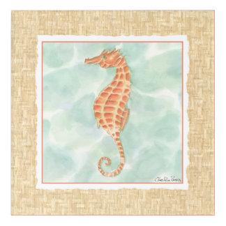 Ocean Orange Seahorse Acrylic Wall Art
