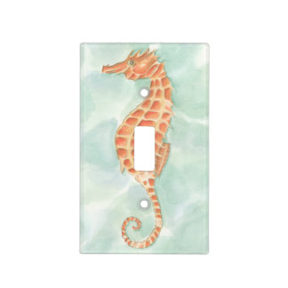 Ocean Orange Seahorse Light Switch Cover