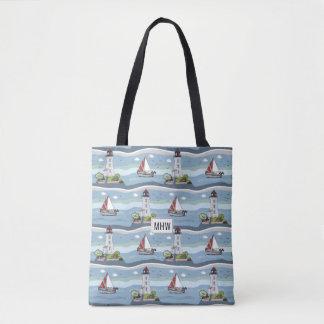 Ocean Pattern custom monogram bags