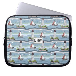 Ocean Pattern custom monogram laptop sleeves