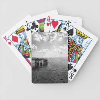 Ocean Pier in Black and White Bicycle Playing Cards