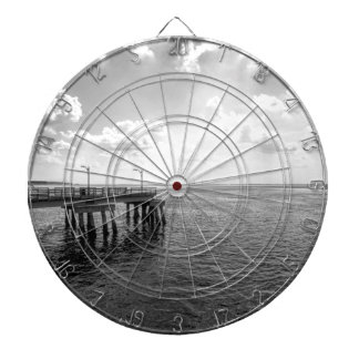 Ocean Pier in Black and White Dartboard With Darts