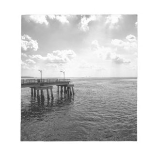 Ocean Pier in Black and White Notepad