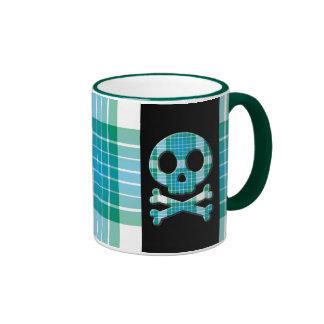 Ocean Plaid Skull Mug