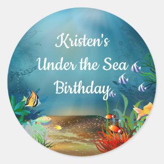 Ocean Reef Under the Sea Birthday Party Classic Round Sticker