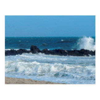 Ocean rocks beach Cape May Jersey Shore postcard