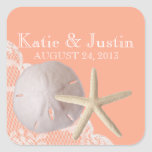 Ocean Romance Sand Dollar and Starfish Square Stickers