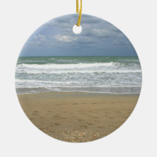Ocean Sand Sky Faded background Round Ceramic Ornament