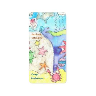 Ocean scene personalized bookplate