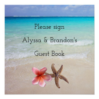 Ocean Scene Sign Wedding Guest Book Perfect Poster