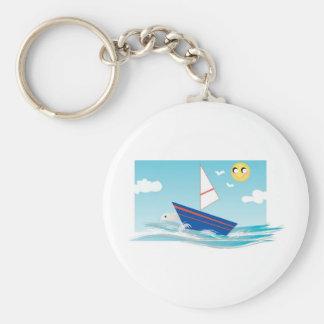 Ocean Scene with Sailboat Keychain
