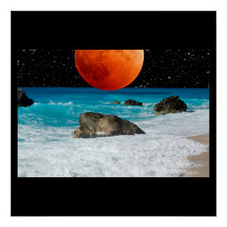Ocean Sea Beach Rock Sand Moon Stars Personalize Perfect Poster