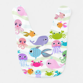 ocean sea octopus, crab, fish, jellyfish Baby Bib