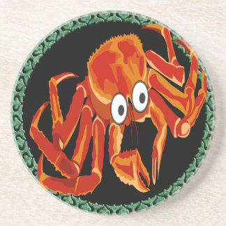 Ocean sea tropical orange king crab coaster