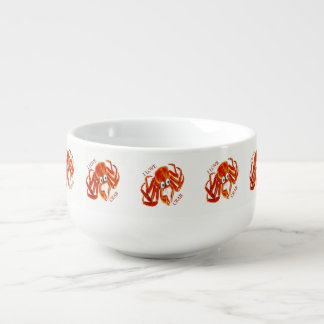 Ocean sea tropical orange king crab on white soup mug