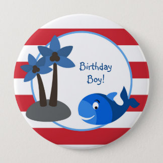 Ocean Sea Whale Personalized Birthday Button
