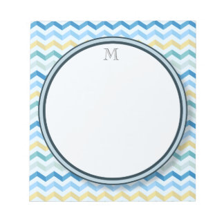 Ocean Shore Chevron Stripes with Round Monogram Notepad