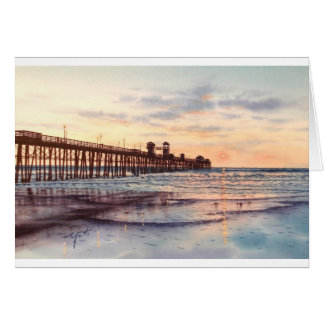 OCEAN SIDE PIER SUNSET CARD