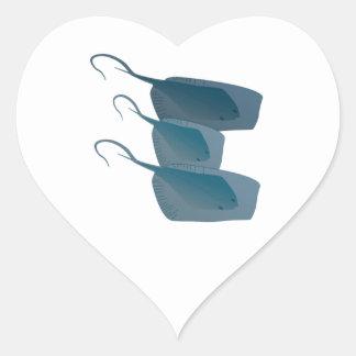 Ocean Stingrays Heart Sticker