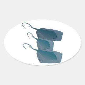 Ocean Stingrays Oval Sticker