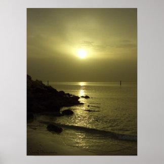 Ocean sunrise, Arabian gulf, Kuwait Poster