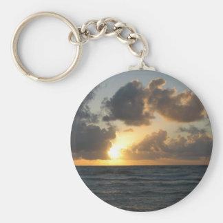 Ocean sunrise basic round button keychain