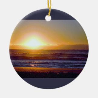 Ocean Sunrise Photo Ceramic Ornament