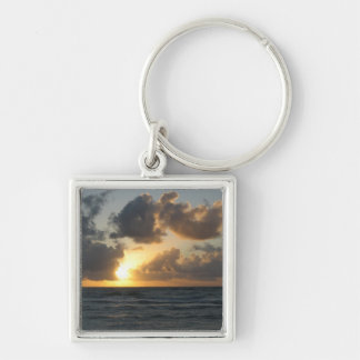 Ocean sunrise Silver-Colored square keychain